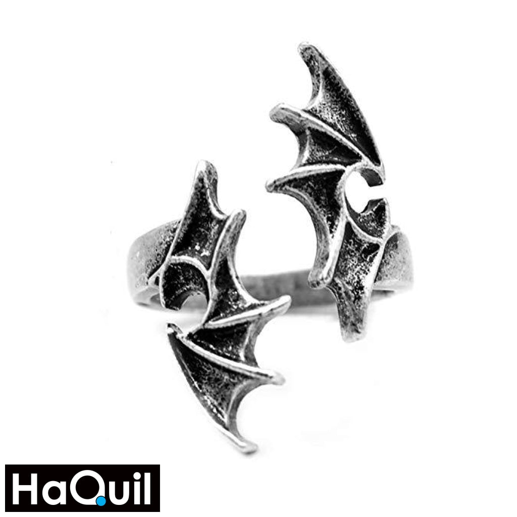 Haquil Punk Gothic Dragon Wings Ring Alloy / Mens Metal Jewelry