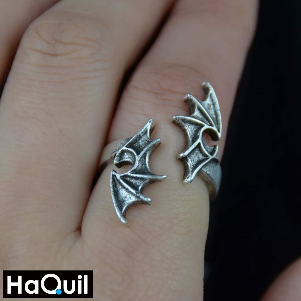 Haquil Punk Gothic Dragon Wings Ring Jewelry