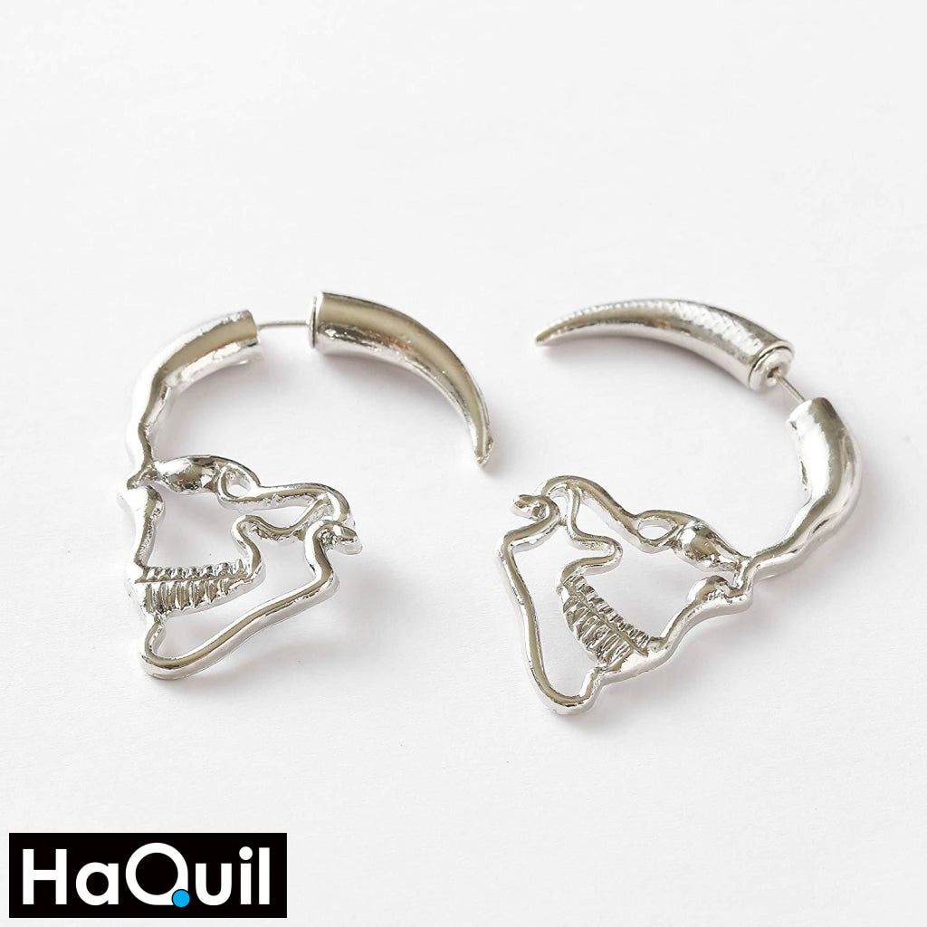 Haquil Punk Hollow Skull Earrings Jewelry