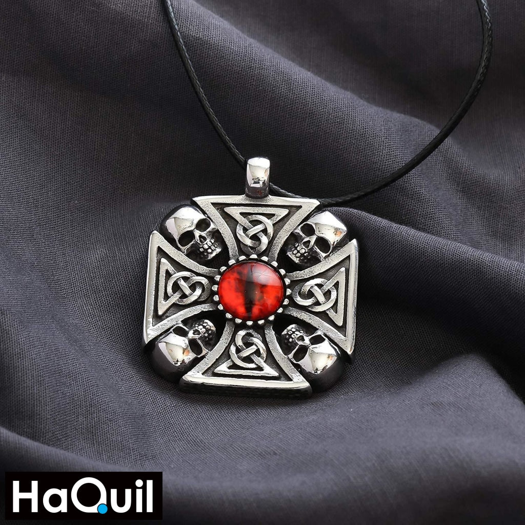 Haquil Punk Knotwork Red Eyes Skull Necklace Jewelry