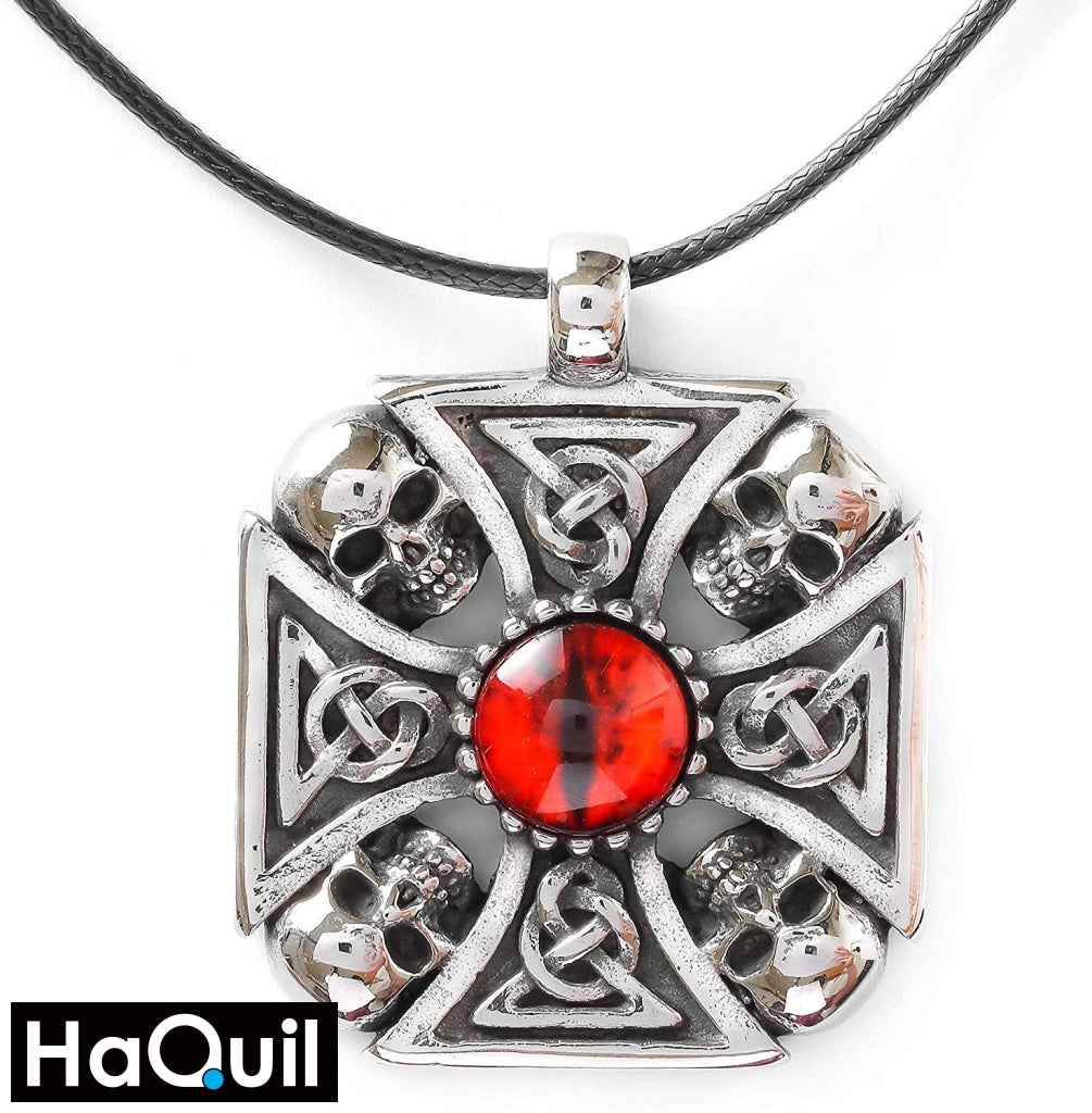 Haquil Punk Knotwork Red Eyes Skull Necklace New Jewelry