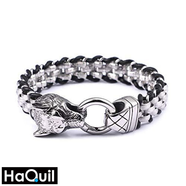 Haquil Punk Leather Braided Wolf Bracelet Stainless-Steel / Mens Metal Jewelry