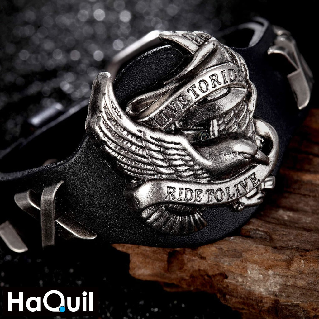 Haquil Punk Live To Ride Skull Bracelet Jewelry