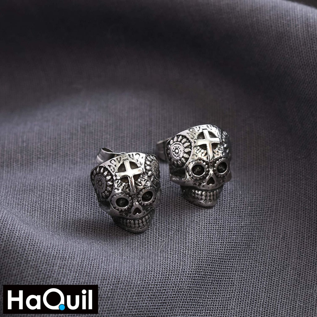 Haquil Punk Mechanic Skull Earrings Jewelry