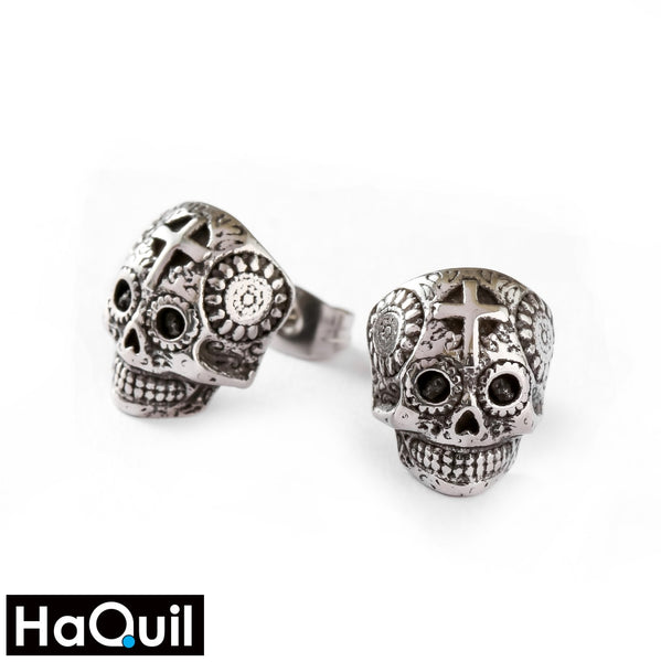 Haquil Punk Mechanic Skull Earrings Stainless-Steel / Womens Metal Jewelry