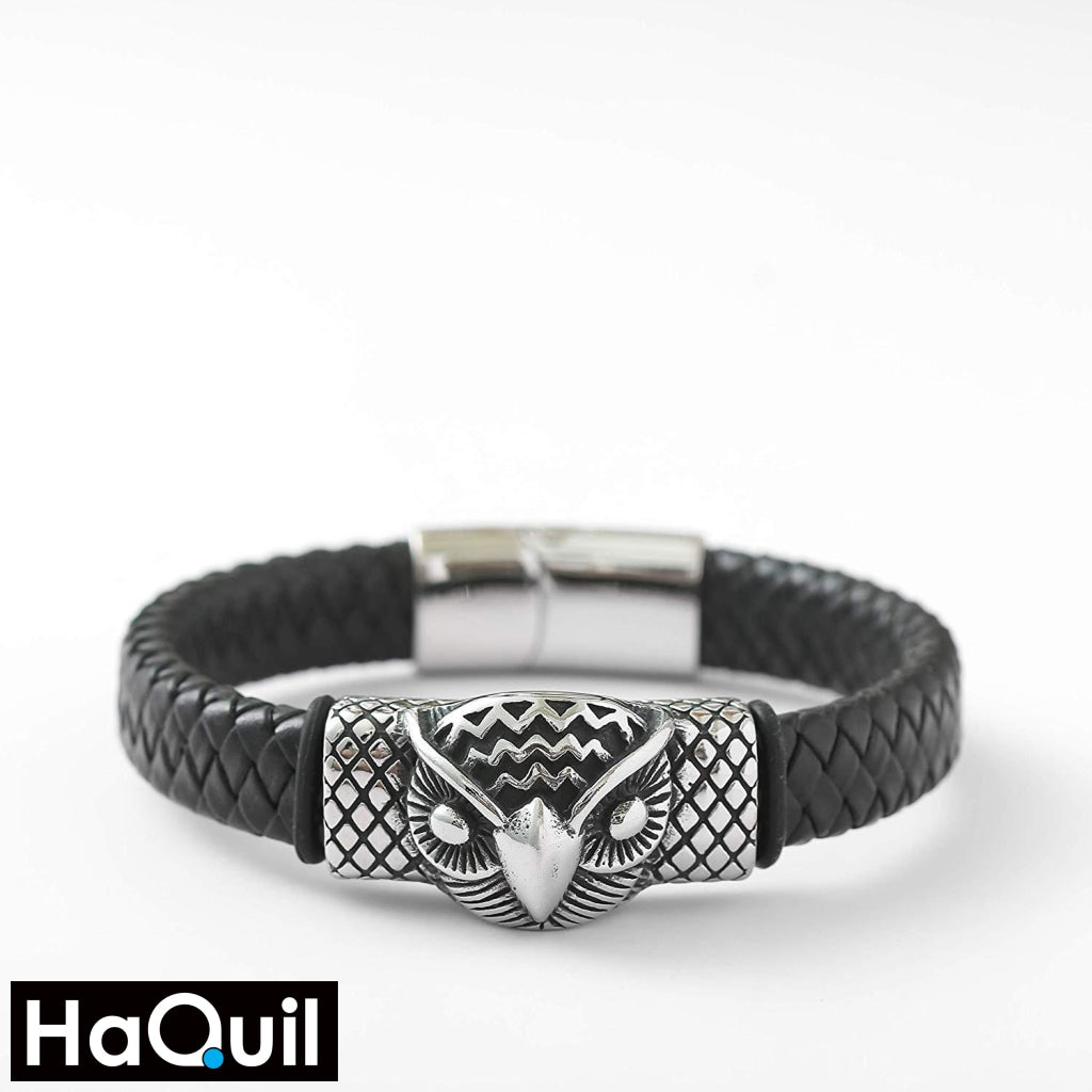 Haquil Punk Owl Head Leather Bracelet Jewelry