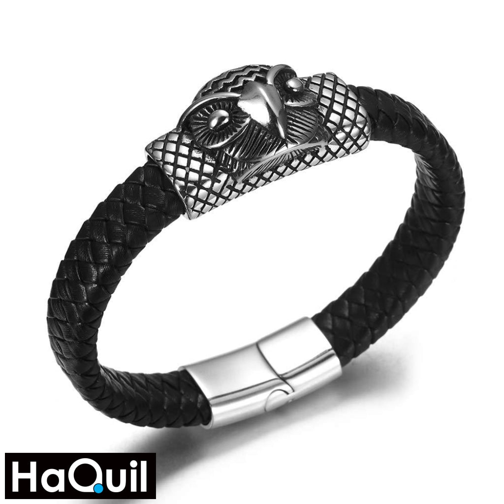 Haquil Punk Owl Head Leather Bracelet New Jewelry