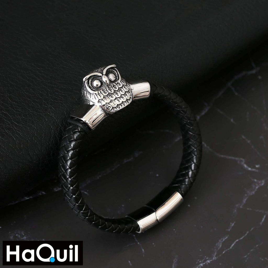 Haquil Punk Owl Leather Bracelet Jewelry
