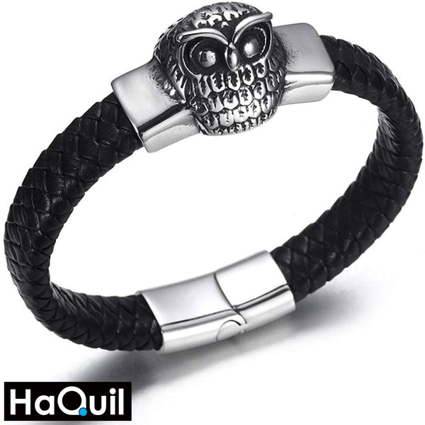 Haquil Punk Owl Leather Bracelet Stainless-Steel / Womens Metal Jewelry