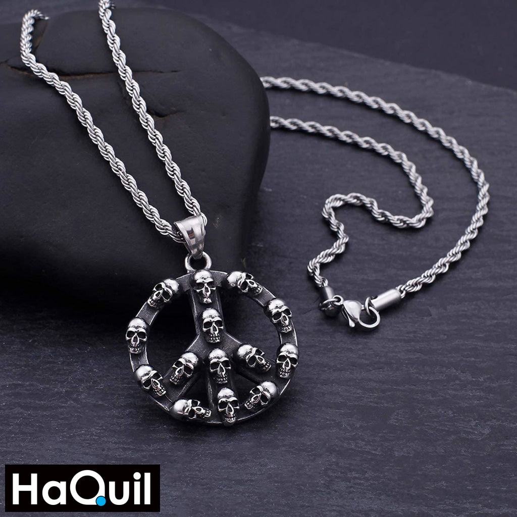 Haquil Punk Peace Sign Skull Necklace Jewelry