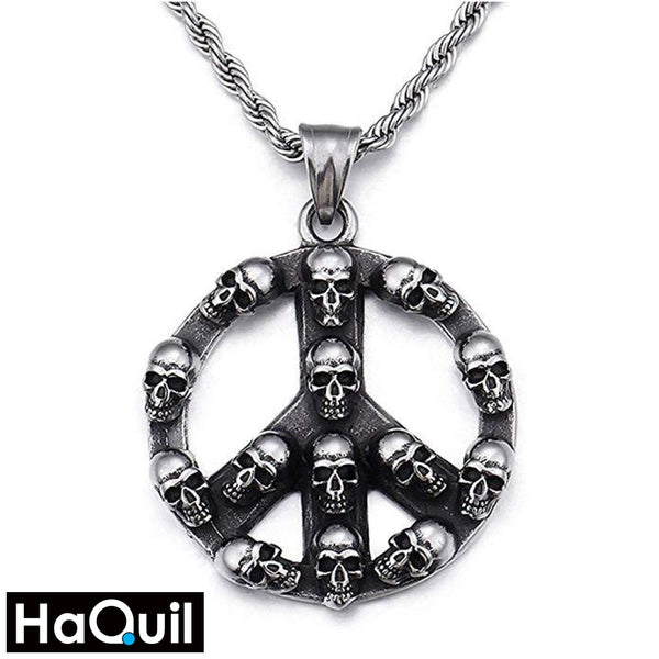 Haquil Punk Peace Sign Skull Necklace Stainless-Steel / Boys Metal Jewelry