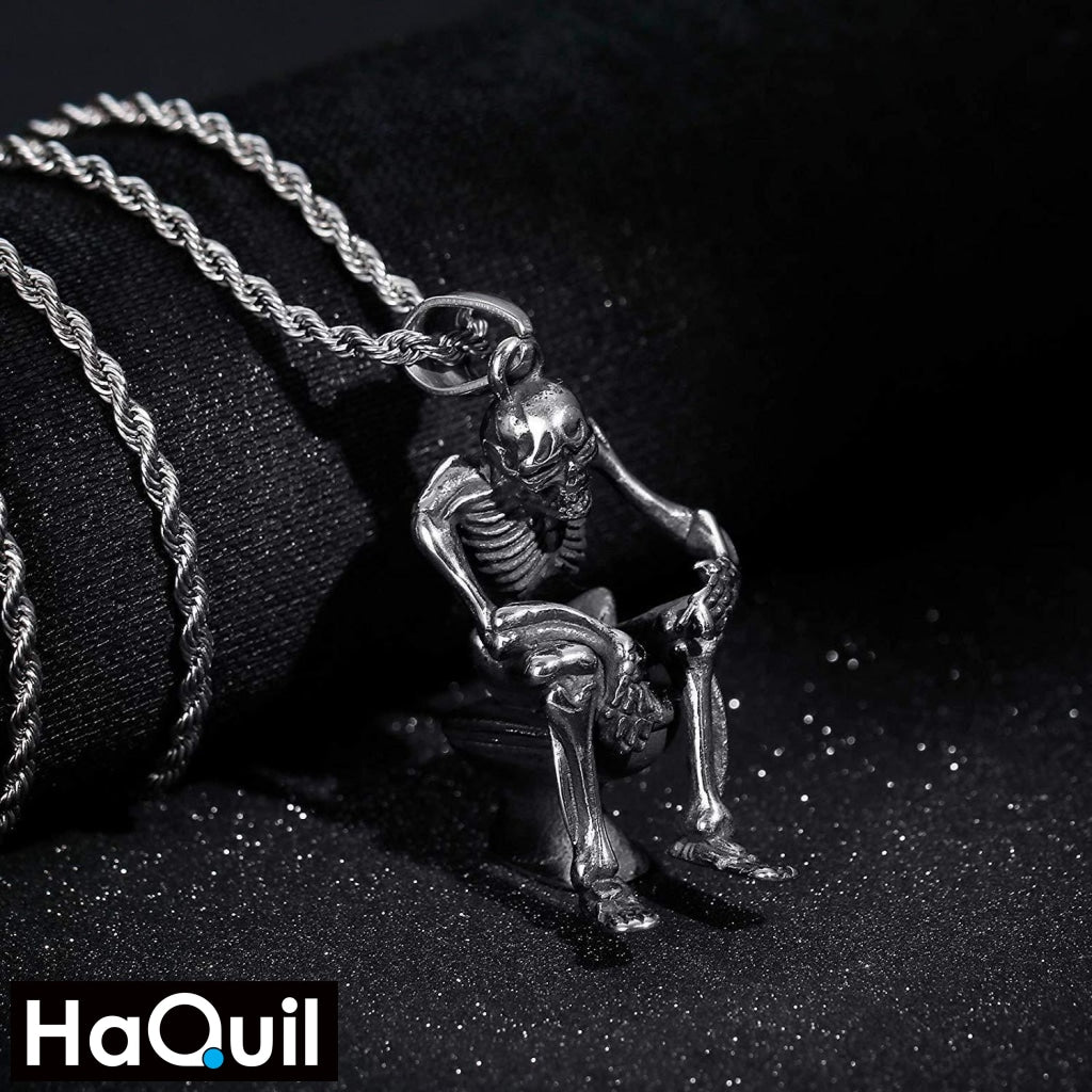 Haquil Punk Reflection Skull Necklace Jewelry