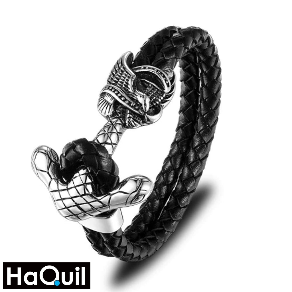Haquil Punk Rock Anchor Bracelet Stainless-Steel / Mens Leather Metal Jewelry