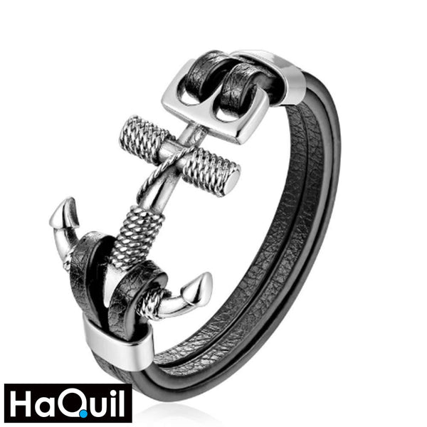 Haquil Punk Rope Anchor Bracelet Stainless-Steel / Mens Leather Metal Jewelry