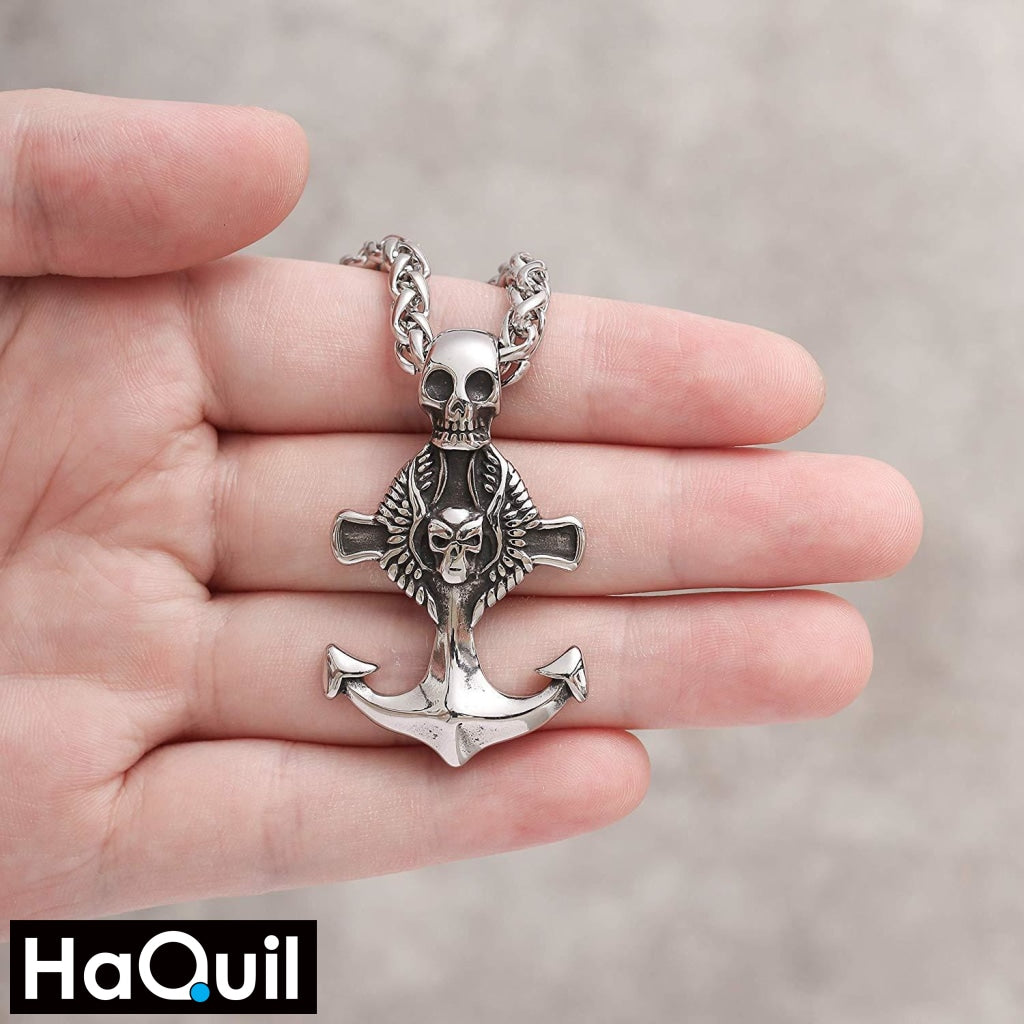 Haquil Punk Seafarer Skull Anchor Necklace Jewelry
