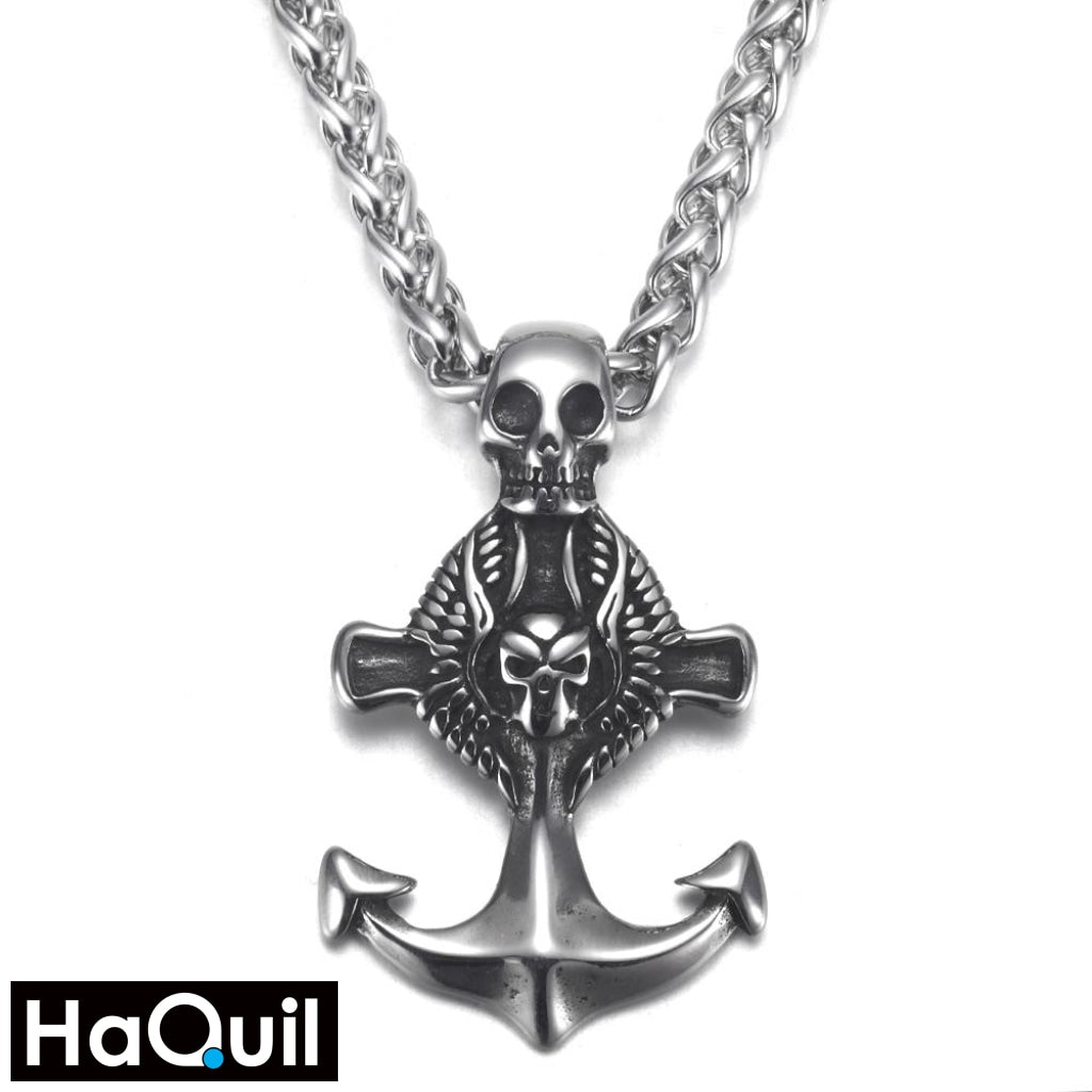 Haquil Punk Seafarer Skull Anchor Necklace Stainless-Steel / Womens Metal Jewelry