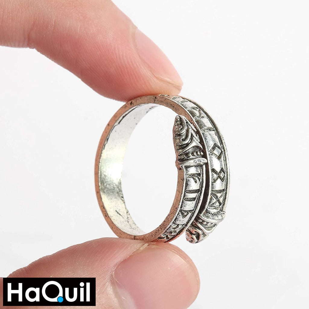 Haquil Punk Silver Two Heads Dragon Ring Jewelry