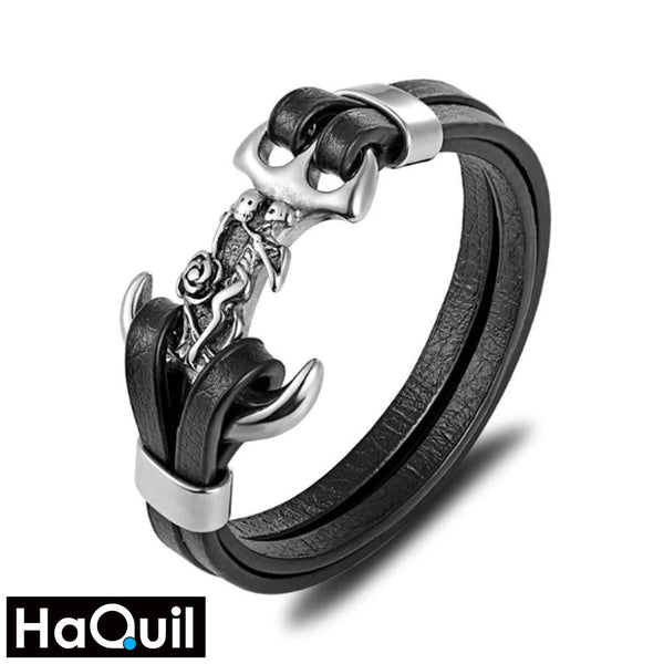 Haquil Punk Skeleton Skull Anchor Bracelet New Jewelry