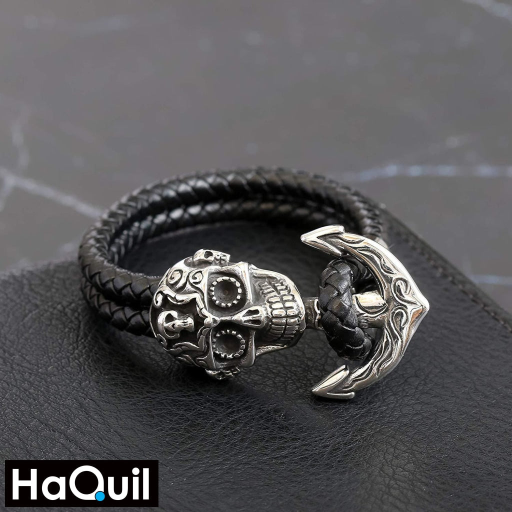 Haquil Punk Skull Anchor Black Bracelet Jewelry