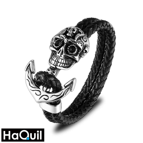 Haquil Punk Skull Anchor Black Bracelet Stainless-Steel / Boys Leather Metal Jewelry
