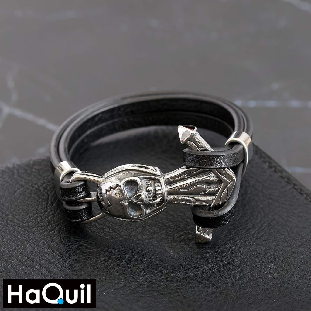 Haquil Punk Skull Anchor Bracelet Jewelry