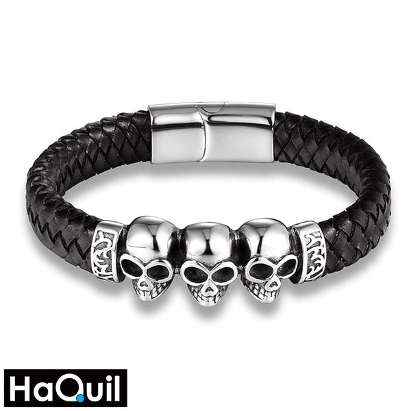 Haquil Punk Skull Braided Bracelet Black / Stainless-Steel Boys Jewelry
