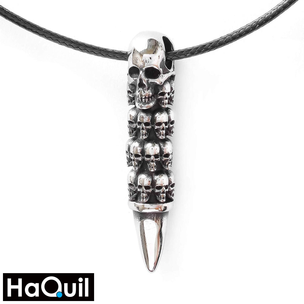 Haquil Punk Skull Bullet Necklace Stainless-Steel / Mens Metal Jewelry