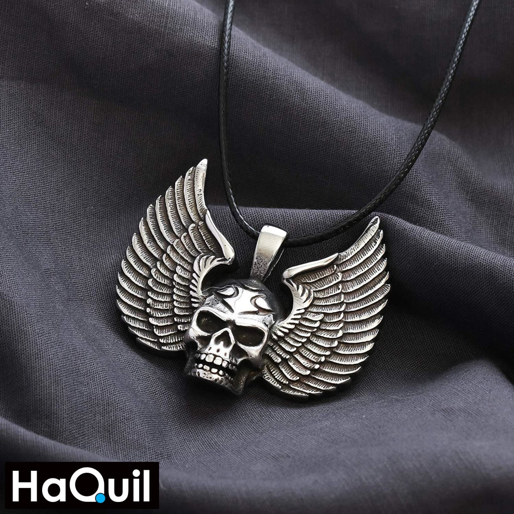 Haquil Punk Skull Head Wings Necklace Jewelry