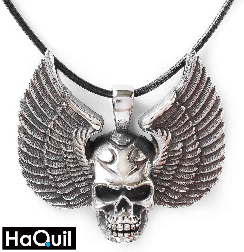 Haquil Punk Skull Head Wings Necklace Stainless-Steel / Mens Metal Jewelry