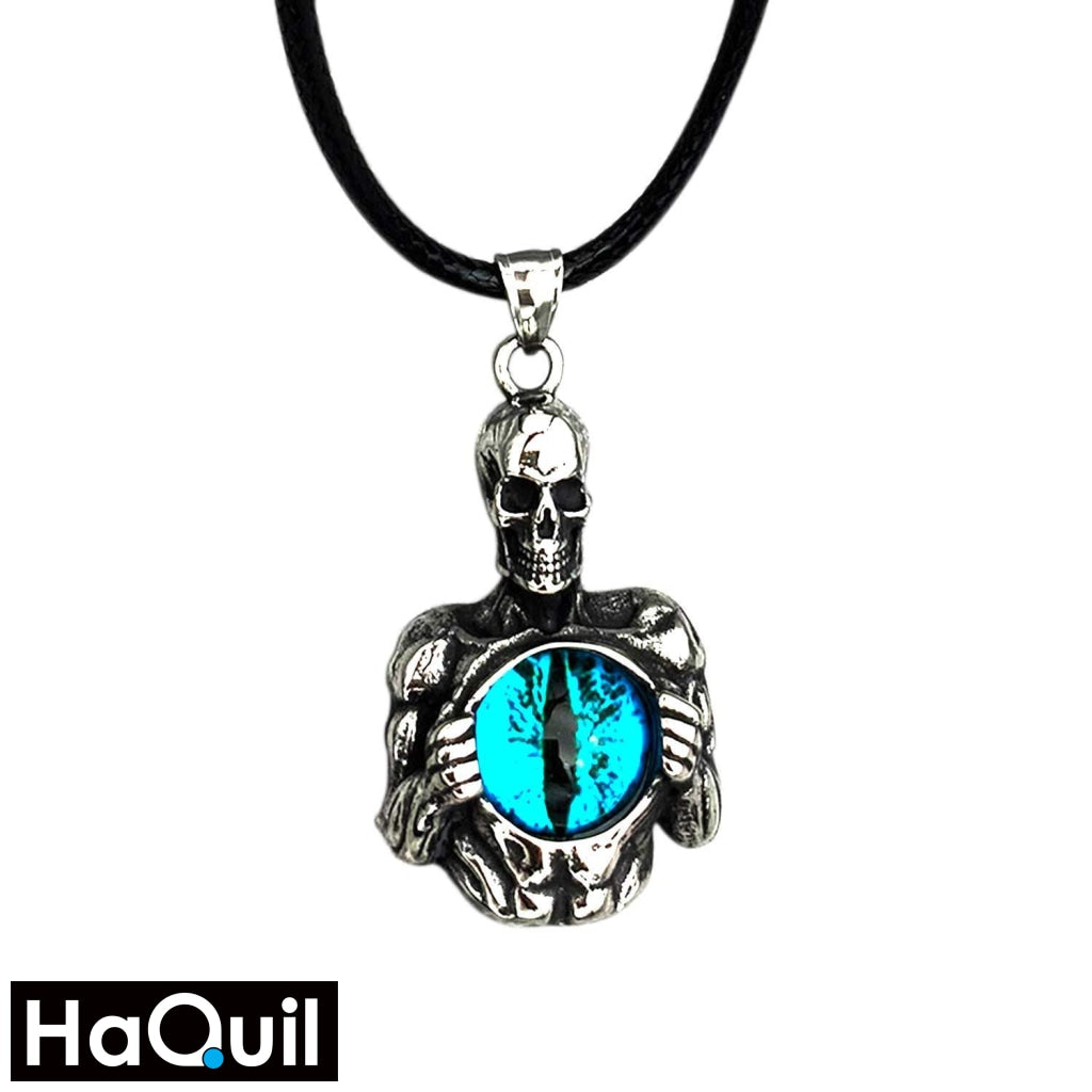 Haquil Punk Skull Holder Blue Evil Eyes Necklace Stainless-Steel / Boys Metal Jewelry
