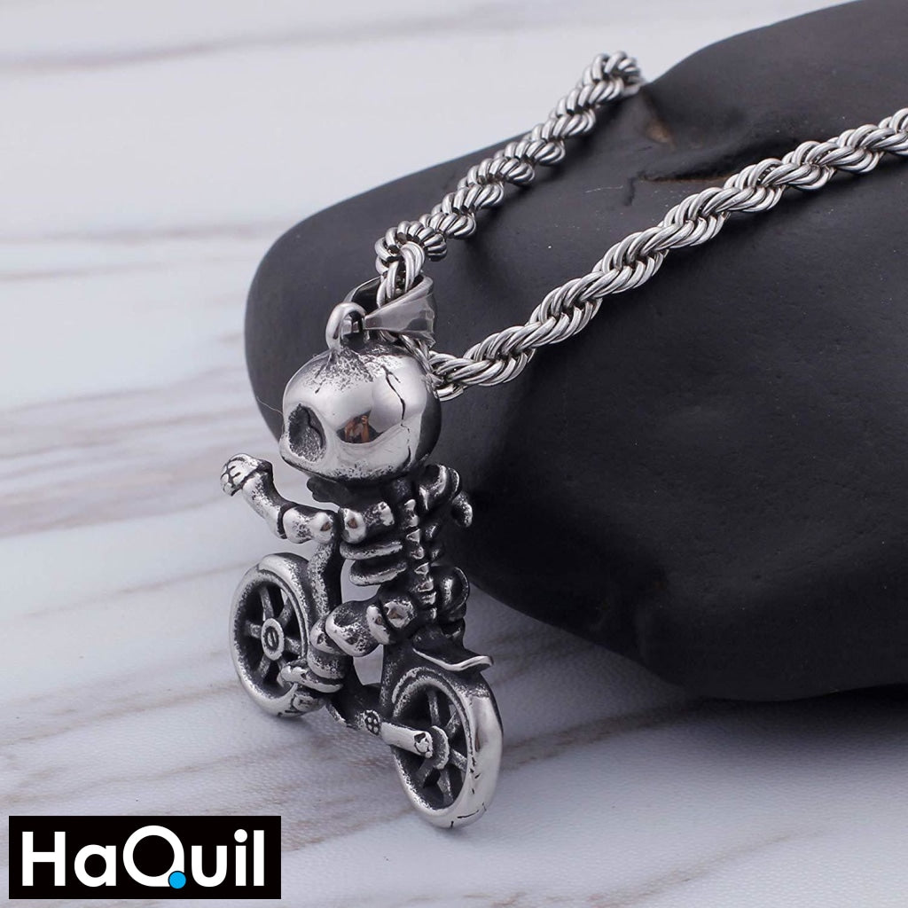 Haquil Punk Skull Kid Rider Necklace Jewelry