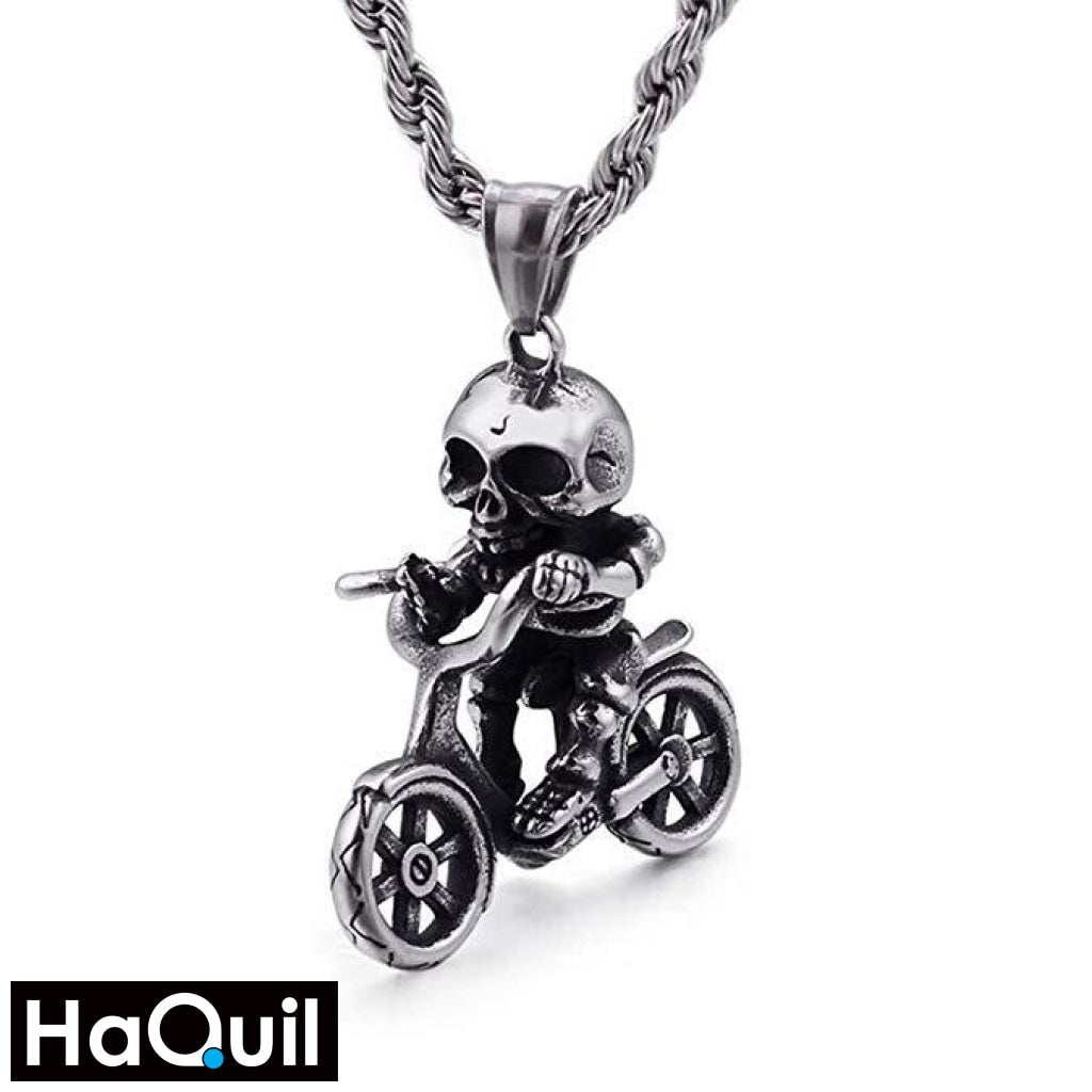 Haquil Punk Skull Kid Rider Necklace Stainless-Steel / Mens Metal Jewelry