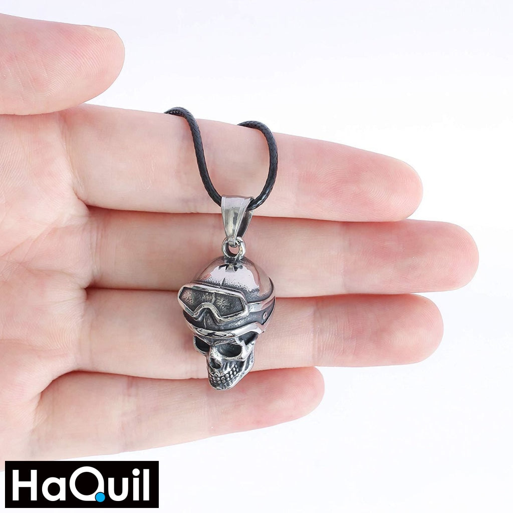 Haquil Punk Skull Motorbike Rider Necklace Jewelry