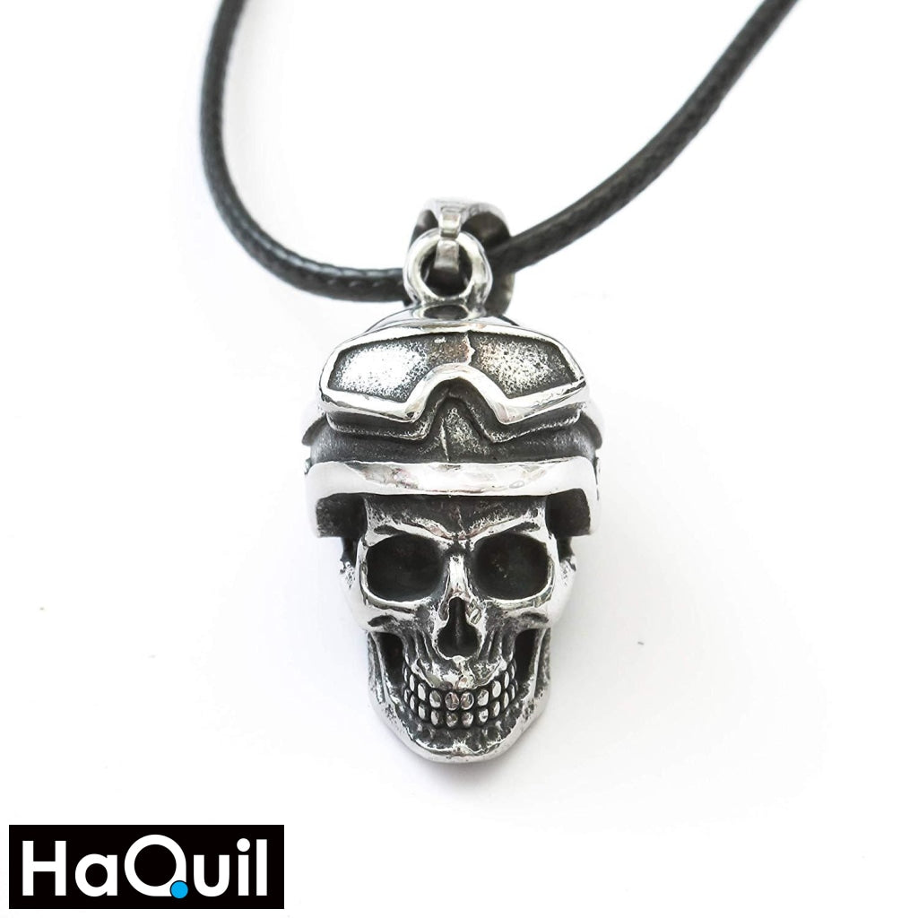 Haquil Punk Skull Motorbike Rider Necklace Stainless-Steel / Womens Metal Jewelry