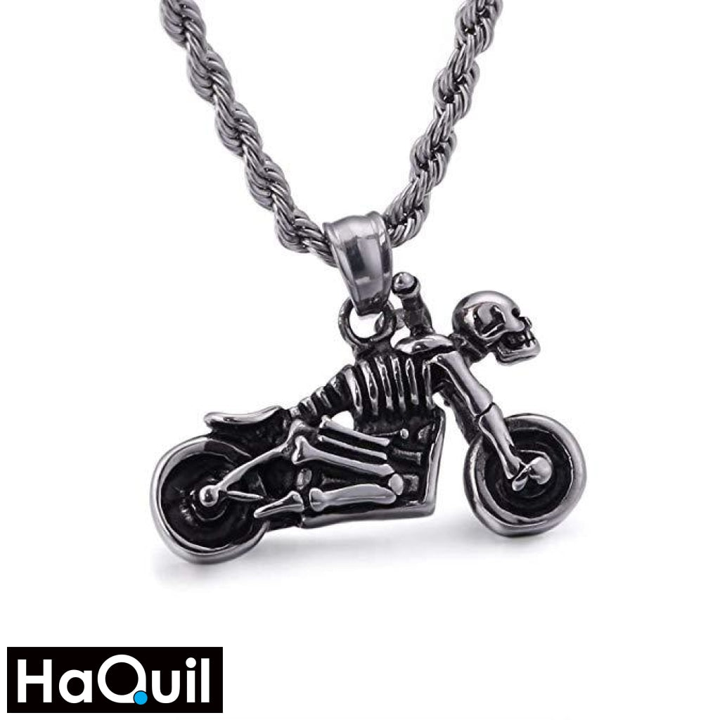 Haquil Punk Skull Rider Necklace Stainless-Steel / Mens Metal Jewelry