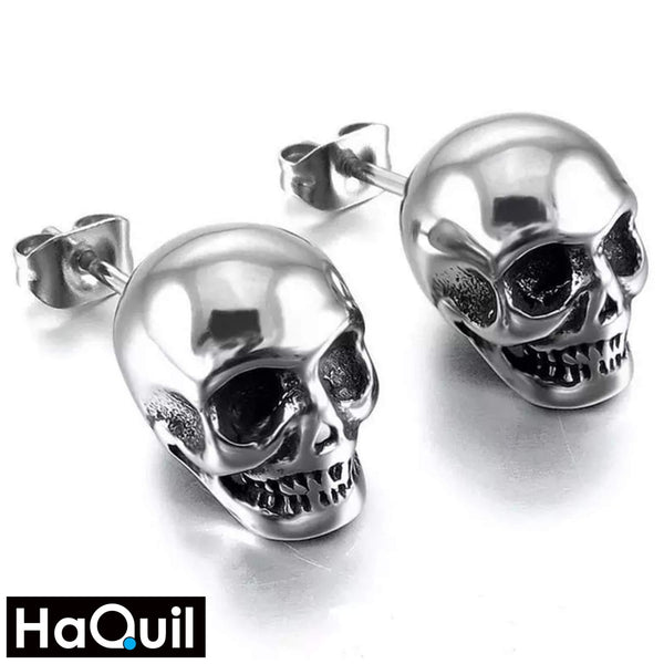 Haquil Punk Skull Stud Earrings Stainless-Steel / Mens Metal Jewelry