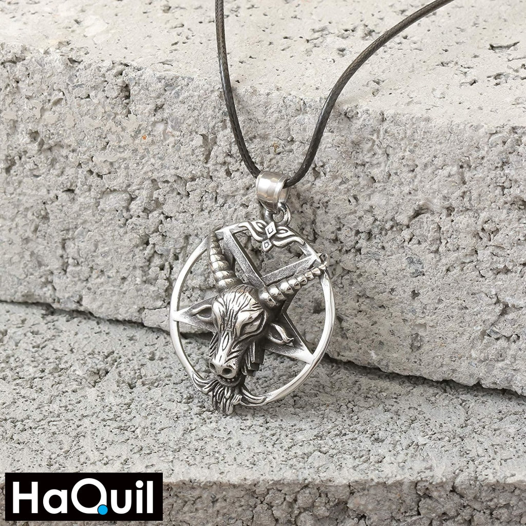Haquil Punk Star Goat Skull Necklace Jewelry