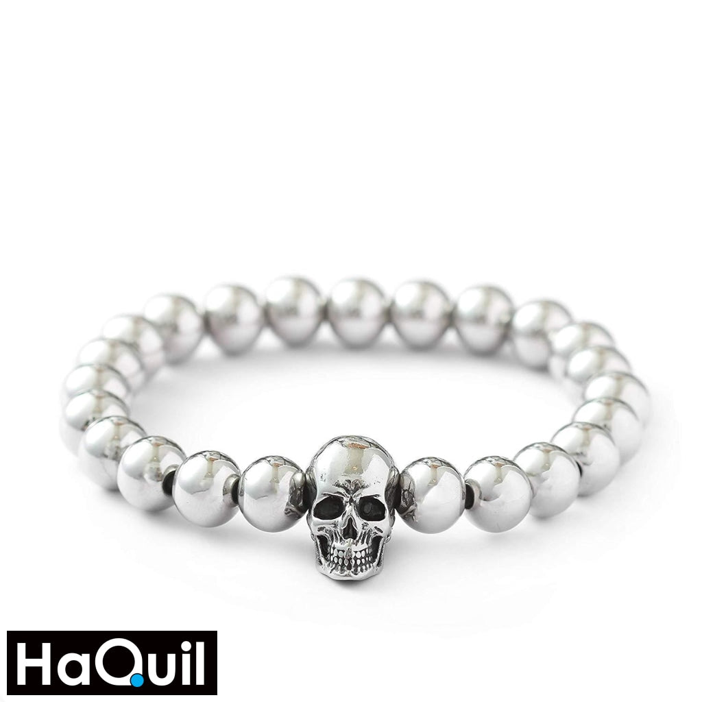 Haquil Punk Steampunk Skull Elastic Bracelet Stainless-Steel / Womens Metal Jewelry