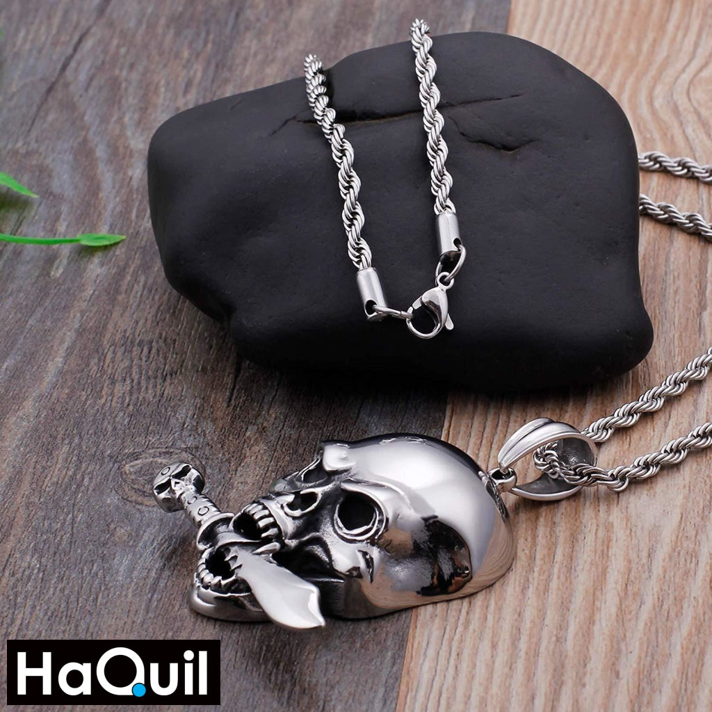 Haquil Punk Sword And Skull Necklace Jewelry