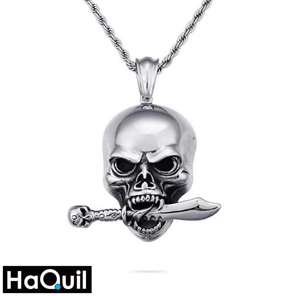 Haquil Punk Sword And Skull Necklace Stainless-Steel / Boys Metal Jewelry