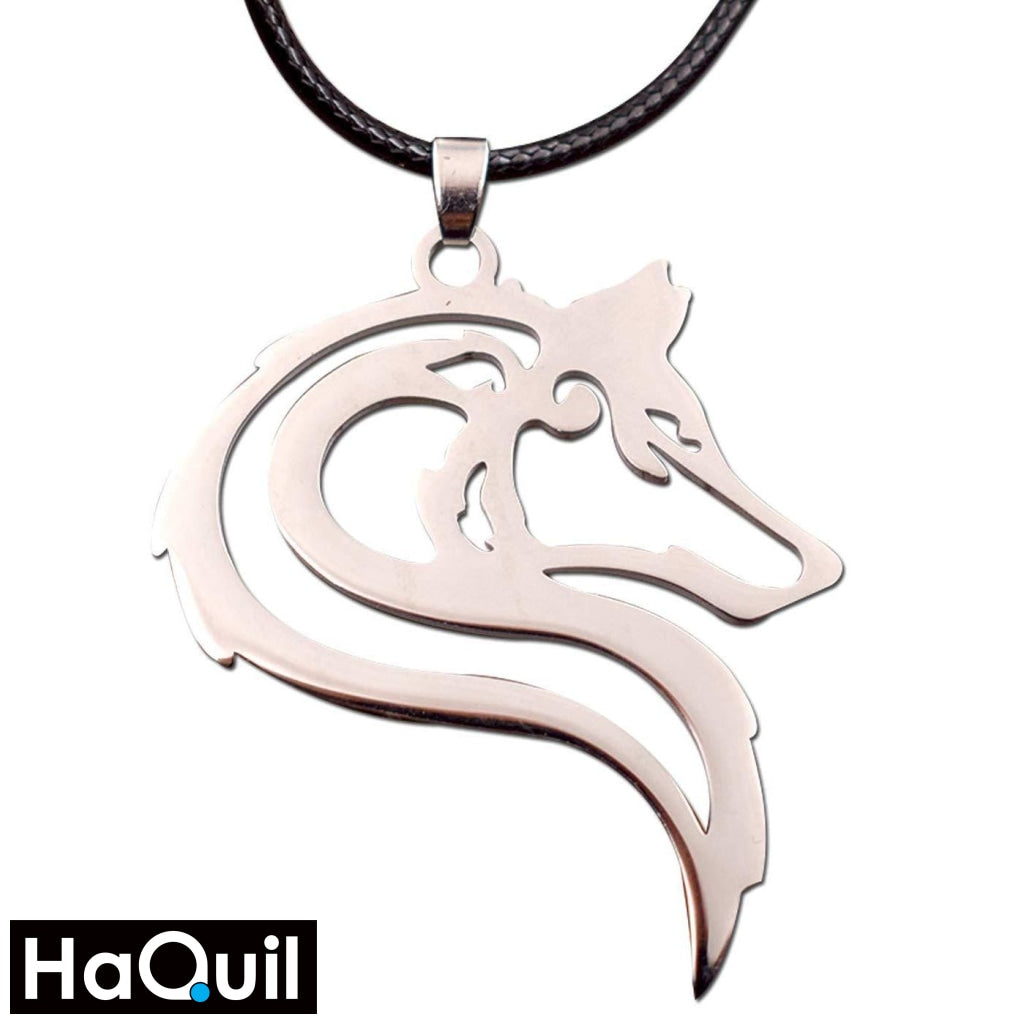 Haquil Punk Tribal Wolf Necklace Stainless-Steel / Boys Metal Jewelry