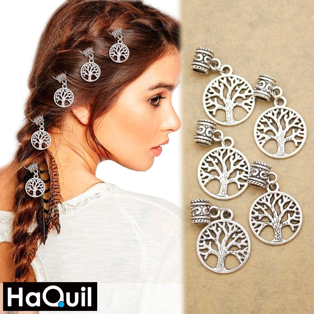 Haquil Viking 10Pcs Tree Of Life Yggdrasil Dreadlock Hair Clips Beauty