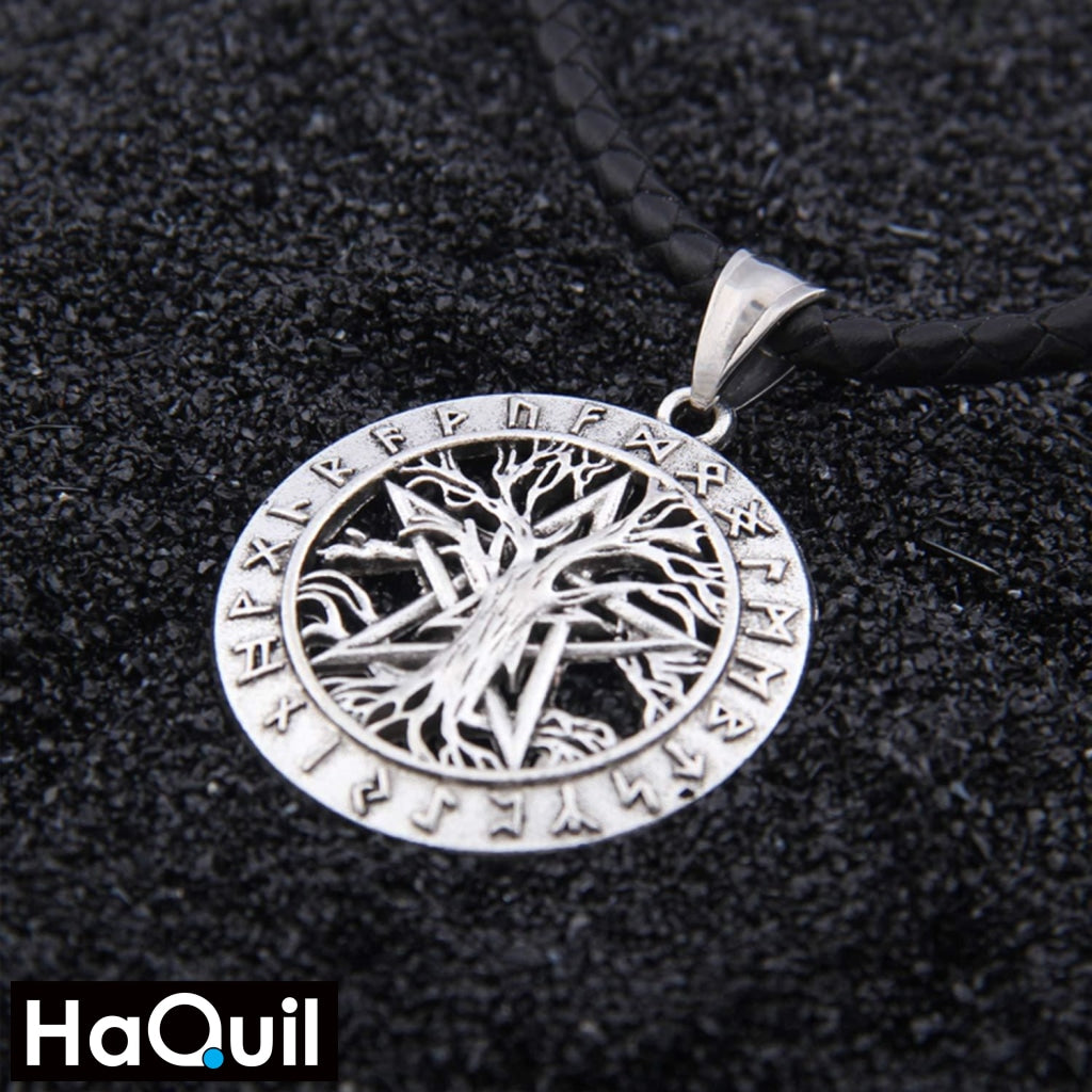 Haquil Viking 24 Runes Pentagram Tree Of Life Necklace Jewelry