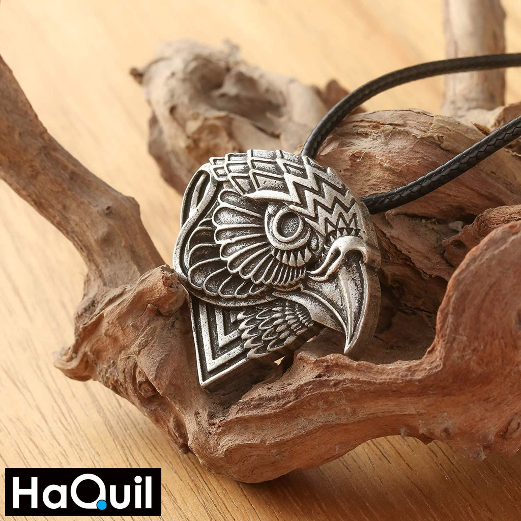 Haquil Viking Abstract Protection Eagle Head Necklace Jewelry