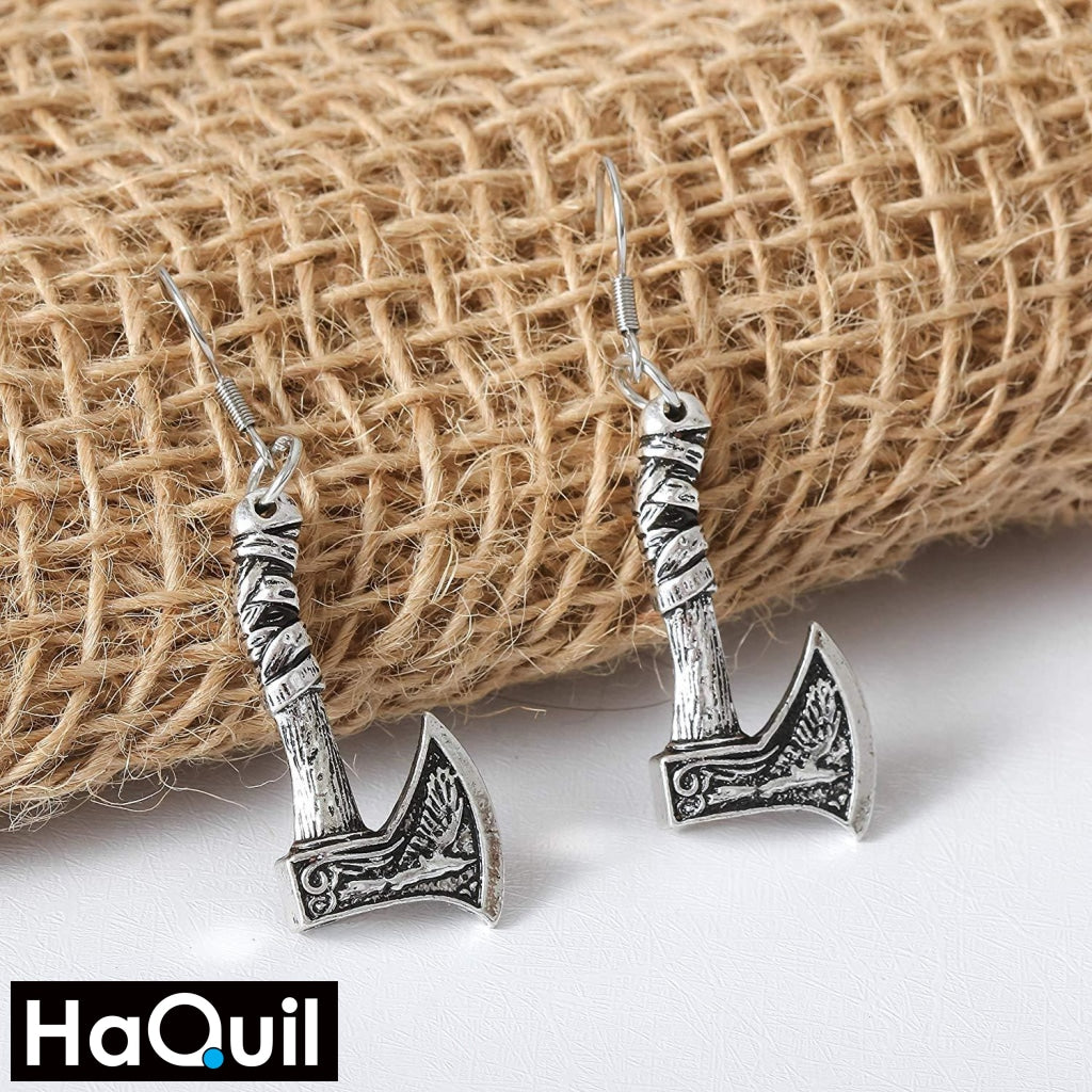 Haquil Viking Amulet Axe Raven Earrings Jewelry