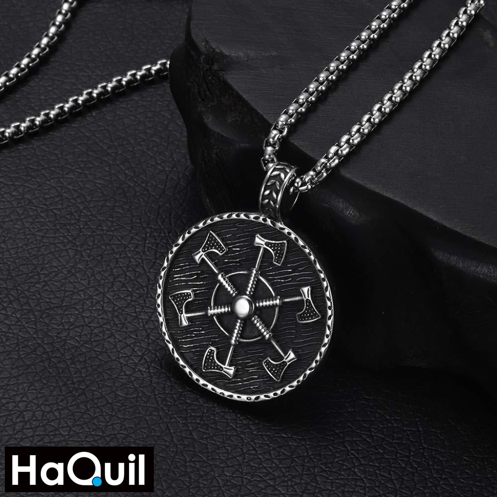 Haquil Viking Amulet Axe Shield Necklace Jewelry
