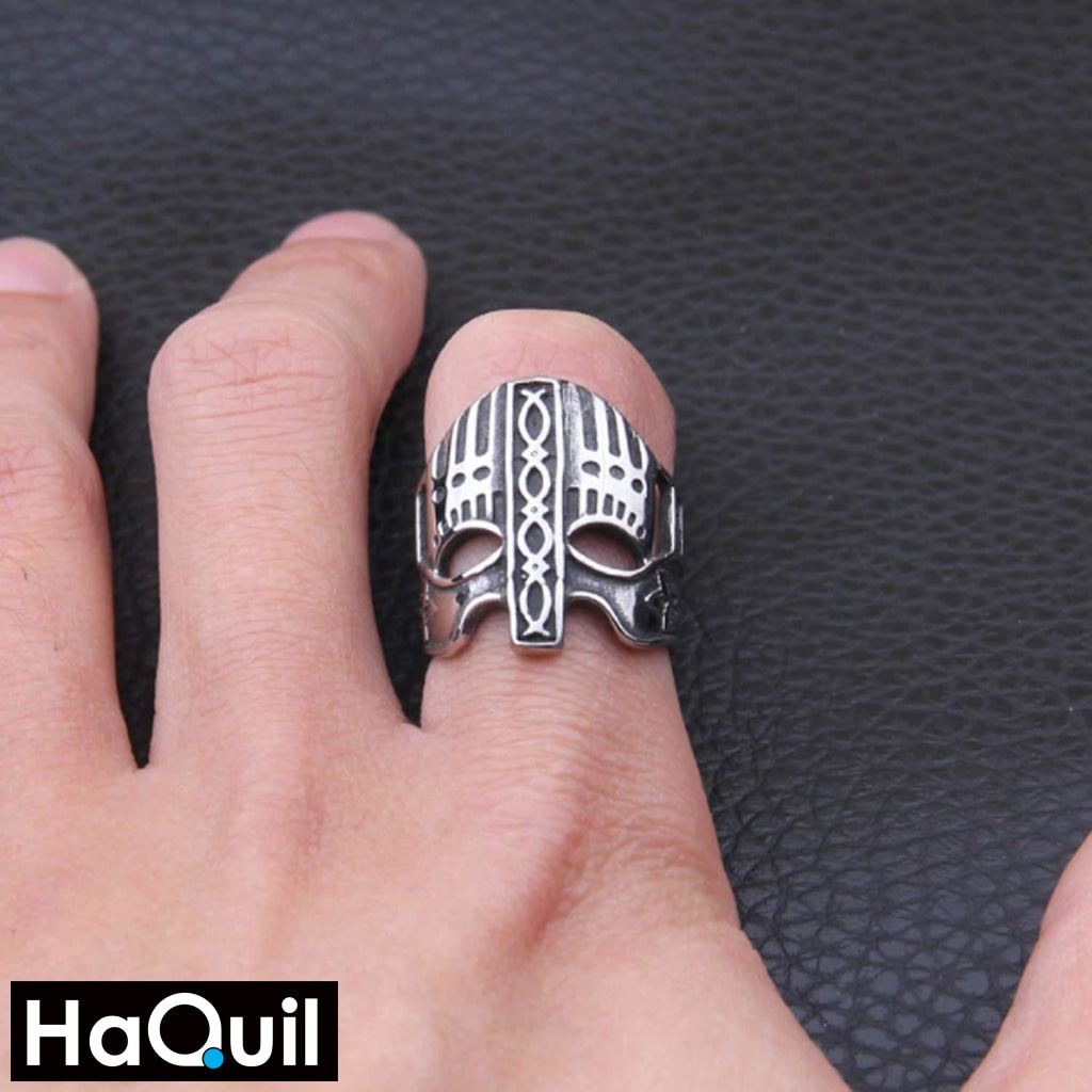 Haquil Viking Army Soldier Mask Ring Jewelry