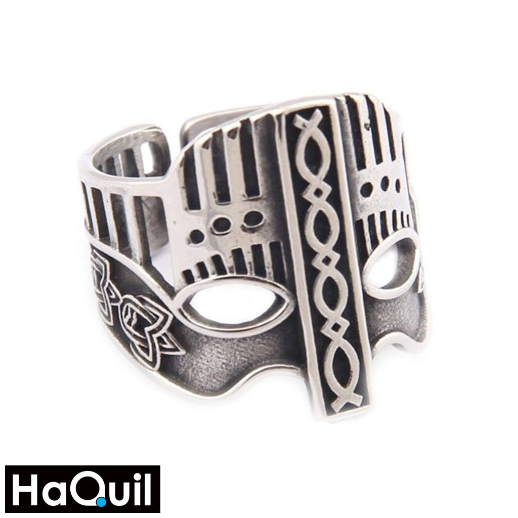 Haquil Viking Army Soldier Mask Ring Stainless-Steel / Womens Metal Jewelry