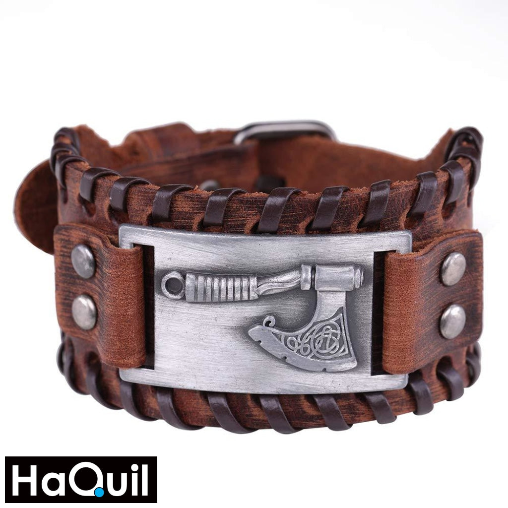 Haquil Viking Axe Brown Leather Bracelet Alloy / Boys Leather Metal Jewelry