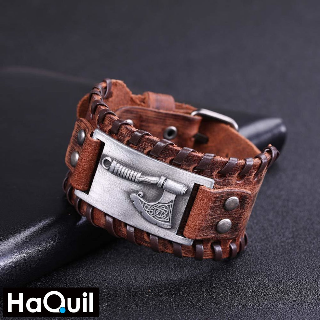 Haquil Viking Axe Brown Leather Bracelet Jewelry